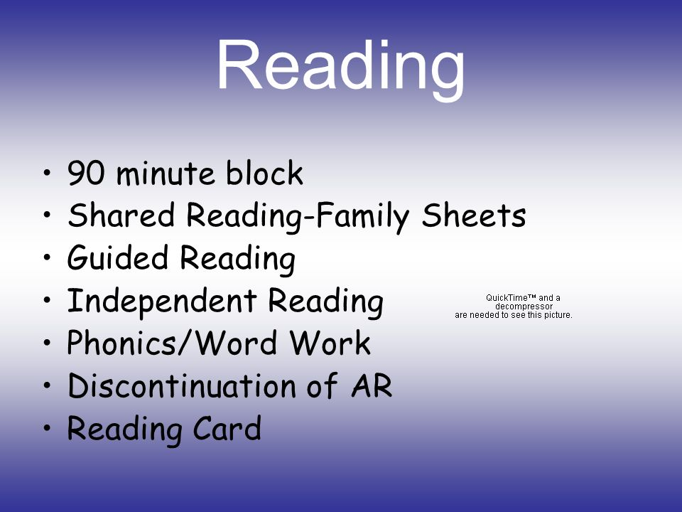 Reading 90 minute block Shared Reading-Family Sheets Guided Reading Independent Reading Phonics/Word Work Discontinuation of AR Reading Card