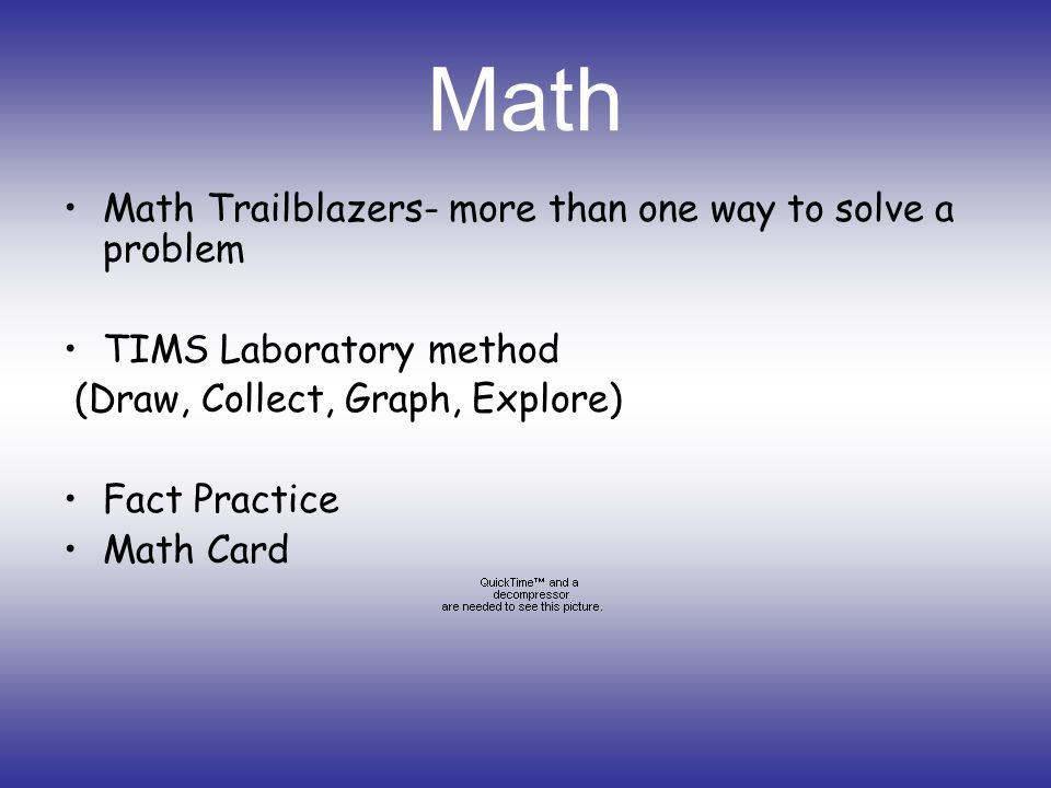 Math Math Trailblazers- more than one way to solve a problem TIMS Laboratory method (Draw, Collect, Graph, Explore) Fact Practice Math Card