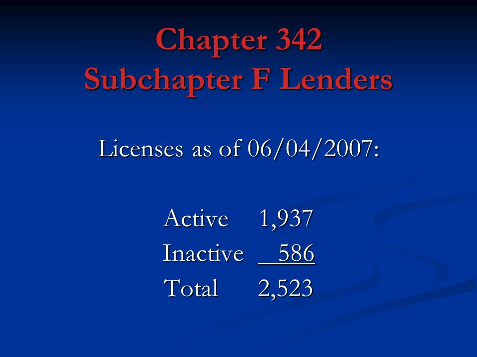 Chapter 342 Subchapter F Lenders Licenses as of 06/04/2007: Active 1,937 Inactive 586 Total 2,523