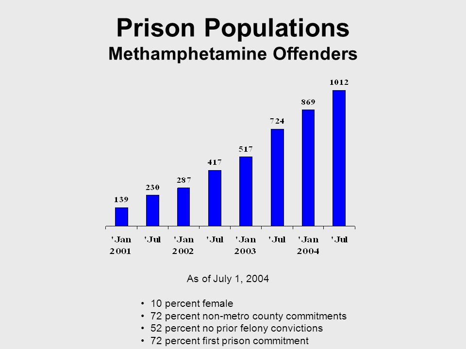 Prison Populations Methamphetamine Offenders As of July 1, 2004 10 percent female 72 percent non-metro county commitments 52 percent no prior felony convictions 72 percent first prison commitment