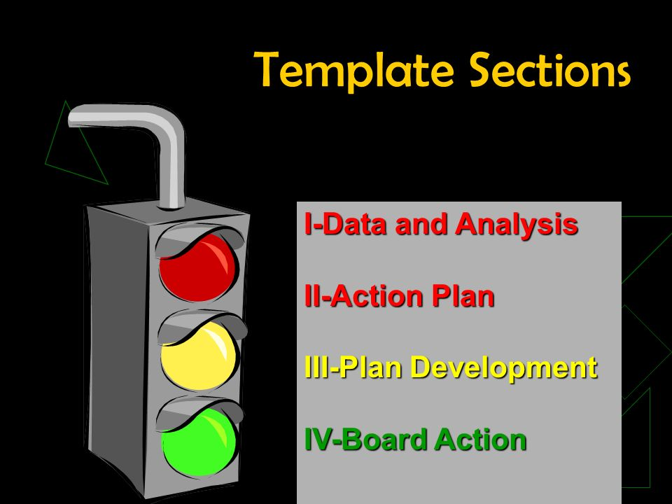 Template Sections I-Data and Analysis II-Action Plan III-Plan Development IV-Board Action