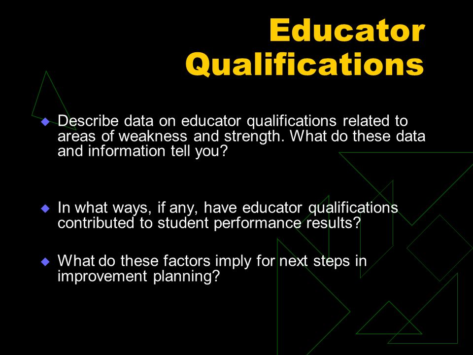 Educator Qualifications Describe data on educator qualifications related to areas of weakness and strength.