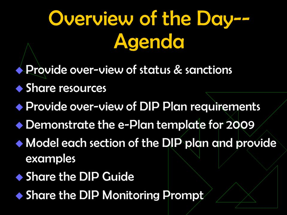 Overview of the Day-- Agenda Provide over-view of status & sanctions Share resources Provide over-view of DIP Plan requirements Demonstrate the e-Plan template for 2009 Model each section of the DIP plan and provide examples Share the DIP Guide Share the DIP Monitoring Prompt