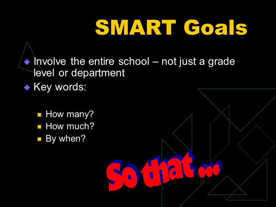 SMART Goals Involve the entire school – not just a grade level or department Key words: How many.