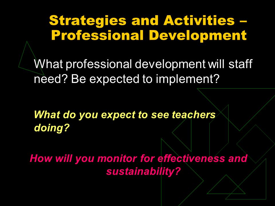 Strategies and Activities – Professional Development What professional development will staff need.