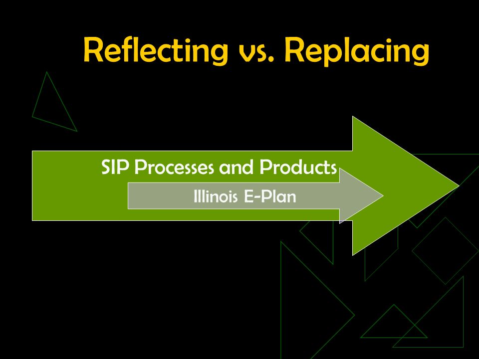 Reflecting vs. Replacing SIP Processes and Products Illinois E-Plan
