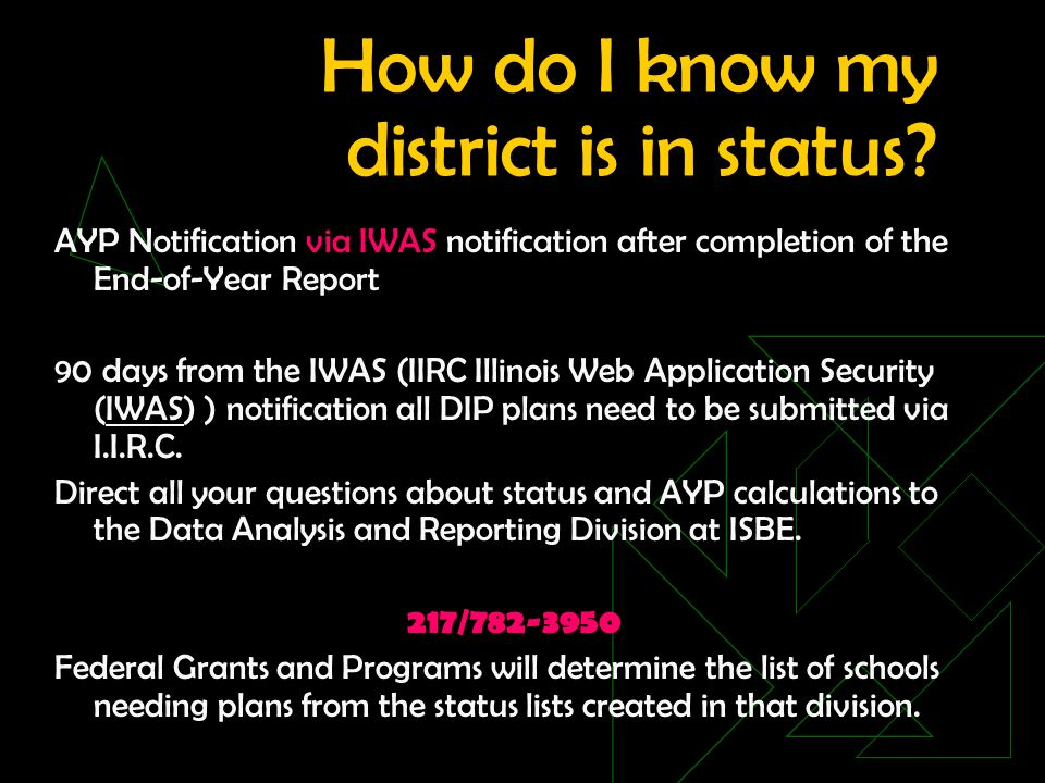 How do I know my district is in status.