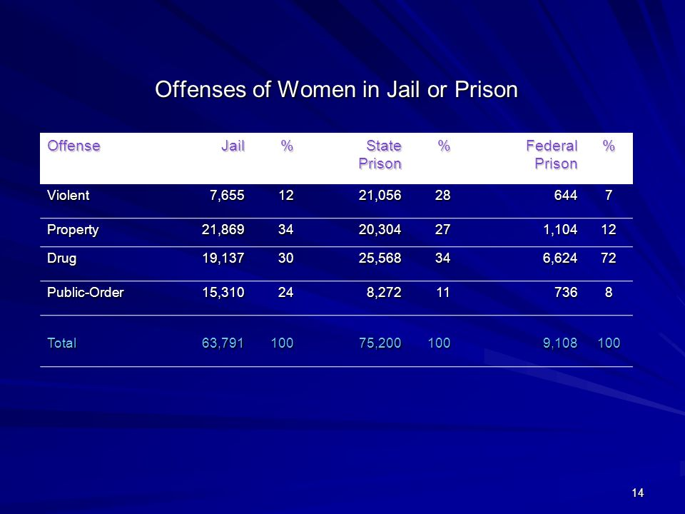 14 Offenses of Women in Jail or Prison OffenseJail% State Prison % Federal Prison % Violent7,6551221,056286447 Property21,8693420,304271,10412 Drug19,1373025,568346,62472 Public-Order15,310248,272117368 Total63,79110075,2001009,108100