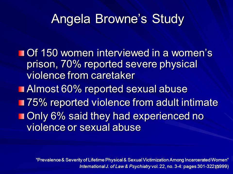 33 Angela Brownes Study Of 150 women interviewed in a womens prison, 70% reported severe physical violence from caretaker Almost 60% reported sexual abuse 75% reported violence from adult intimate Only 6% said they had experienced no violence or sexual abuse Prevalence & Severity of Lifetime Physical & Sexual Victimization Among Incarcerated Women International J.
