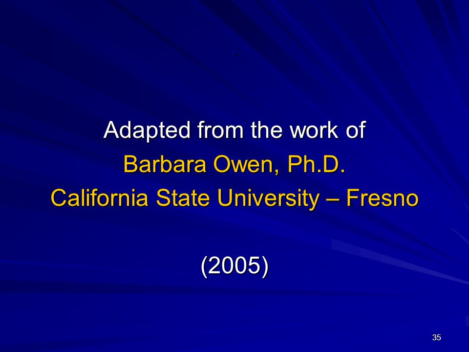 35. Adapted from the work of Barbara Owen, Ph.D. California State University – Fresno (2005)