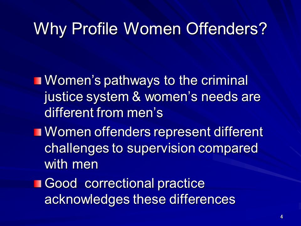 4 Why Profile Women Offenders.