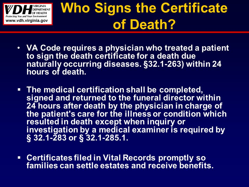 Who Signs the Certificate of Death.