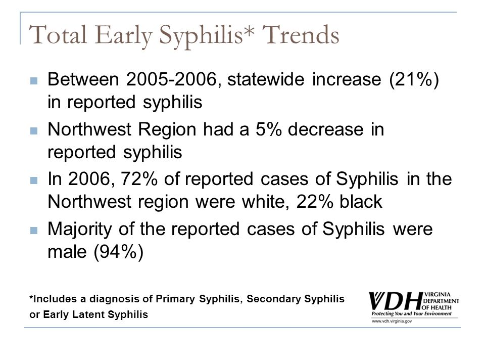 Total Early Syphilis* Trends Between 2005-2006, statewide increase (21%) in reported syphilis Northwest Region had a 5% decrease in reported syphilis In 2006, 72% of reported cases of Syphilis in the Northwest region were white, 22% black Majority of the reported cases of Syphilis were male (94%) *Includes a diagnosis of Primary Syphilis, Secondary Syphilis or Early Latent Syphilis