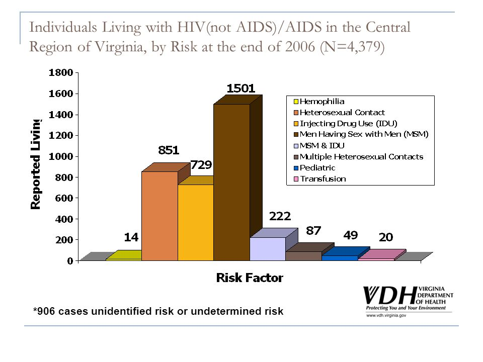 Individuals Living with HIV(not AIDS)/AIDS in the Central Region of Virginia, by Risk at the end of 2006 (N=4,379) *906 cases unidentified risk or undetermined risk