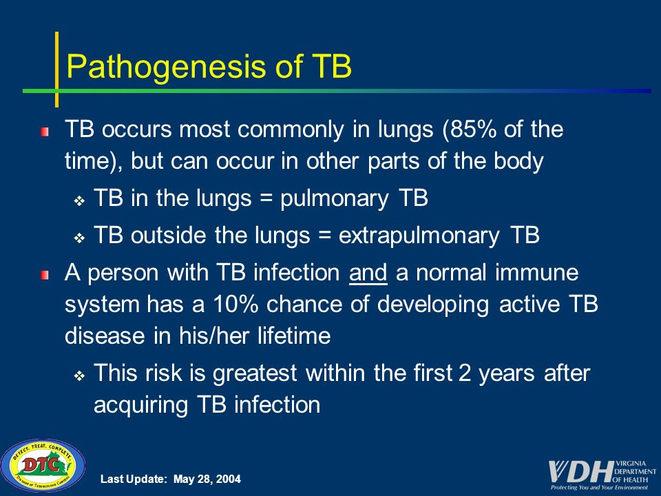 Last Update: May 28, 2004 Pathogenesis of TB TB occurs most commonly in lungs (85% of the time), but can occur in other parts of the body TB in the lungs = pulmonary TB TB outside the lungs = extrapulmonary TB A person with TB infection and a normal immune system has a 10% chance of developing active TB disease in his/her lifetime This risk is greatest within the first 2 years after acquiring TB infection