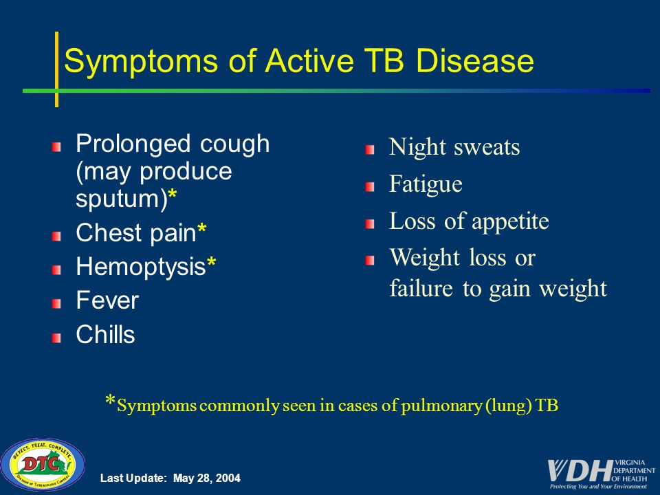 Last Update: May 28, 2004 Symptoms of Active TB Disease Prolonged cough (may produce sputum)* Chest pain* Hemoptysis* Fever Chills * Symptoms commonly seen in cases of pulmonary (lung) TB Night sweats Fatigue Loss of appetite Weight loss or failure to gain weight