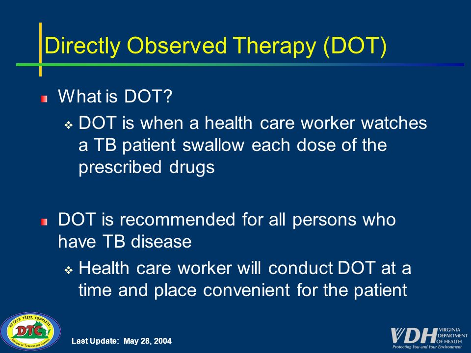 Last Update: May 28, 2004 Directly Observed Therapy (DOT) What is DOT.