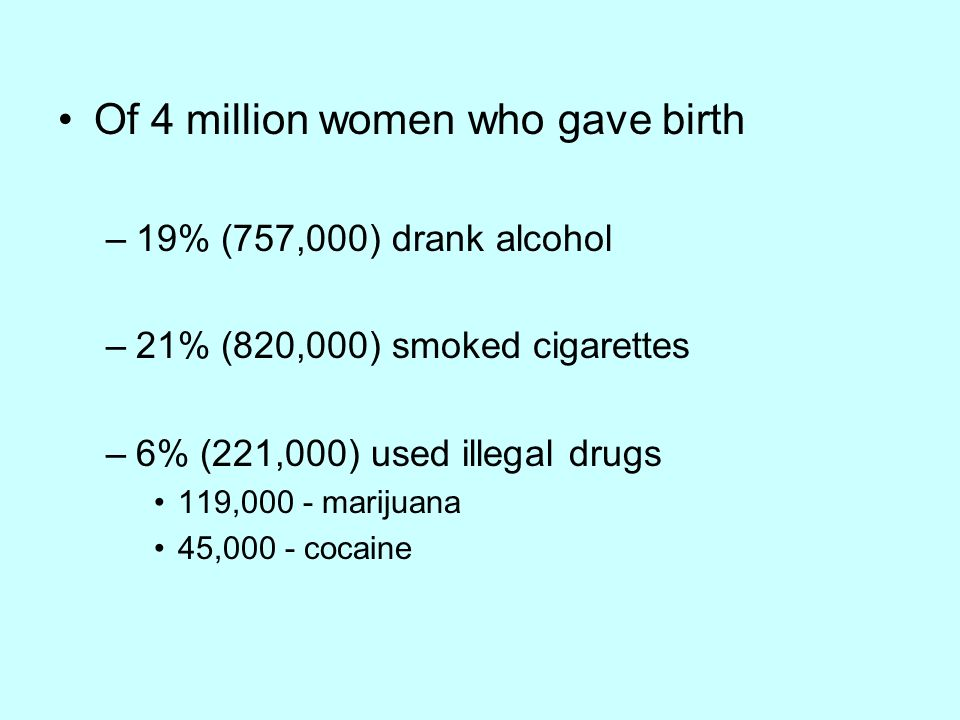 Of 4 million women who gave birth –19% (757,000) drank alcohol –21% (820,000) smoked cigarettes –6% (221,000) used illegal drugs 119,000 - marijuana 45,000 - cocaine
