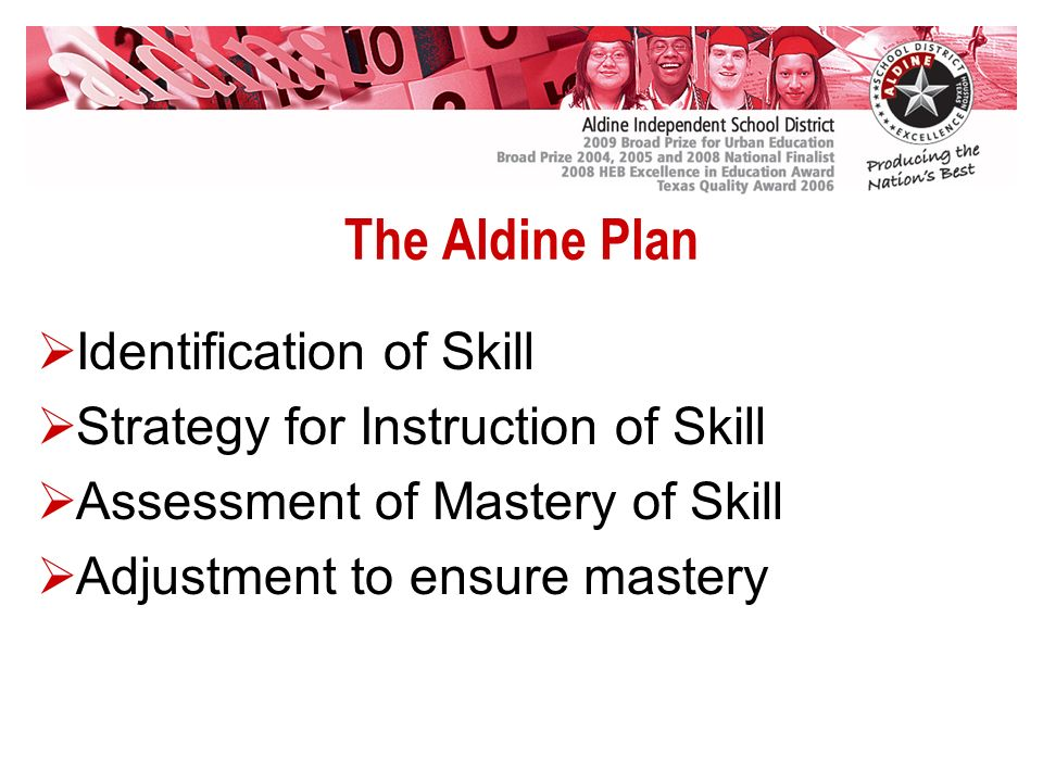 The Aldine Plan Identification of Skill Strategy for Instruction of Skill Assessment of Mastery of Skill Adjustment to ensure mastery