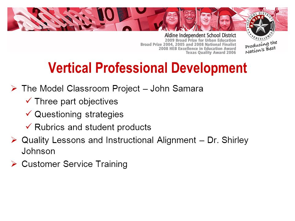 Vertical Professional Development The Model Classroom Project – John Samara Three part objectives Questioning strategies Rubrics and student products Quality Lessons and Instructional Alignment – Dr.