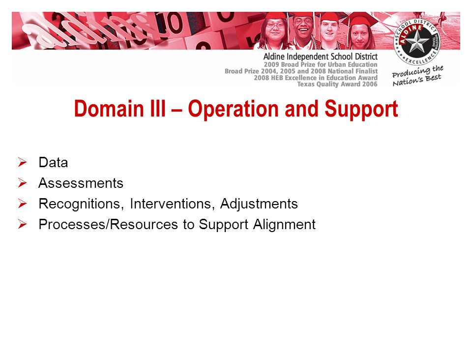 Domain III – Operation and Support Data Assessments Recognitions, Interventions, Adjustments Processes/Resources to Support Alignment