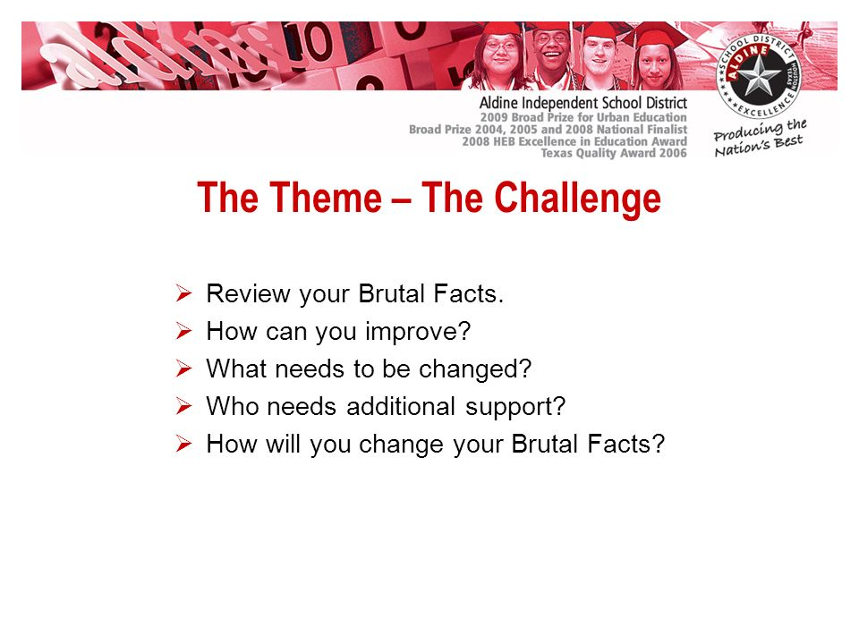 The Theme – The Challenge Review your Brutal Facts.