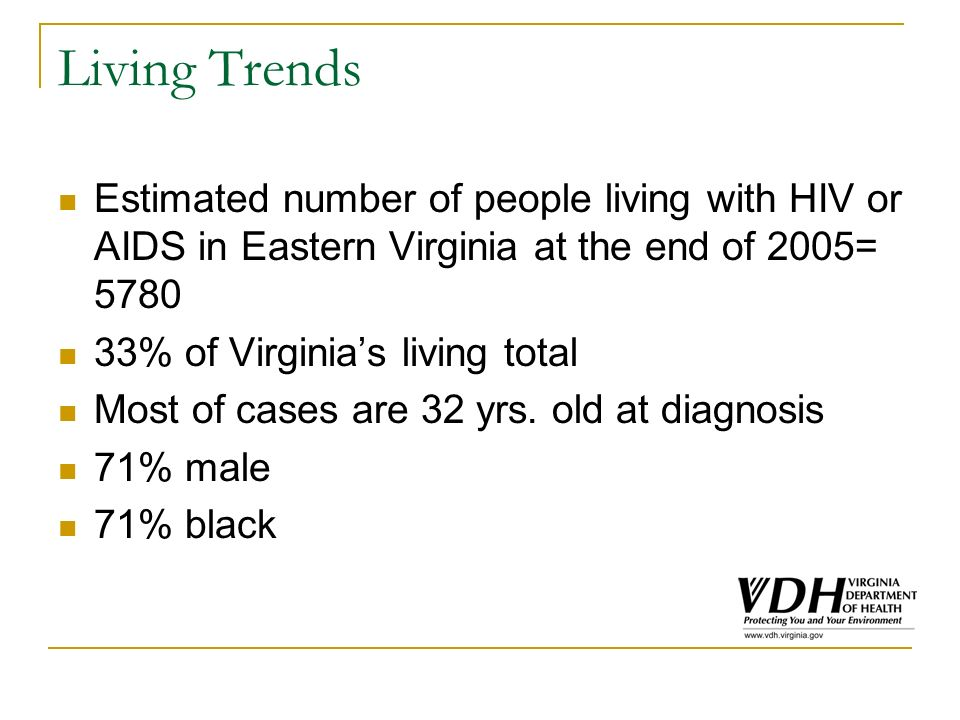 Living Trends Estimated number of people living with HIV or AIDS in Eastern Virginia at the end of 2005= 5780 33% of Virginias living total Most of cases are 32 yrs.