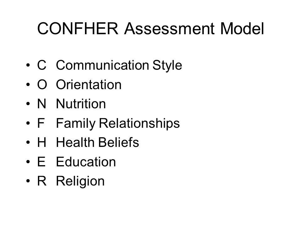 CONFHER Assessment Model CCommunication Style OOrientation NNutrition FFamily Relationships HHealth Beliefs EEducation RReligion