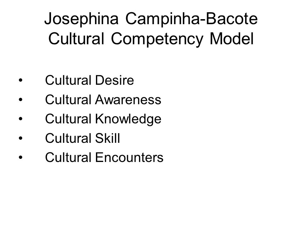 Josephina Campinha-Bacote Cultural Competency Model Cultural Desire Cultural Awareness Cultural Knowledge Cultural Skill Cultural Encounters