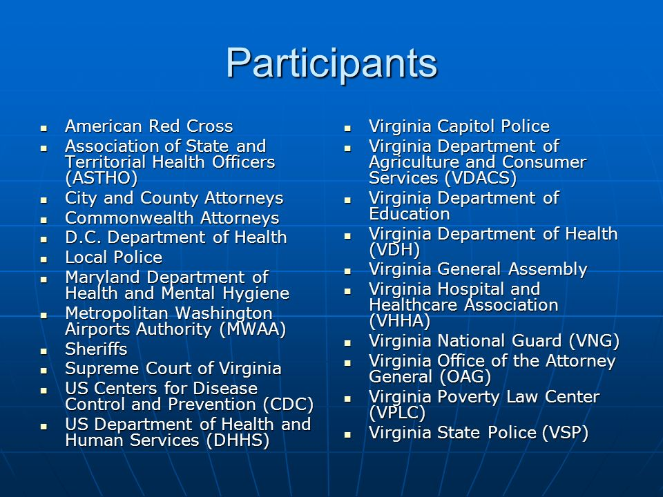 Participants American Red Cross American Red Cross Association of State and Territorial Health Officers (ASTHO) Association of State and Territorial Health Officers (ASTHO) City and County Attorneys City and County Attorneys Commonwealth Attorneys Commonwealth Attorneys D.C.