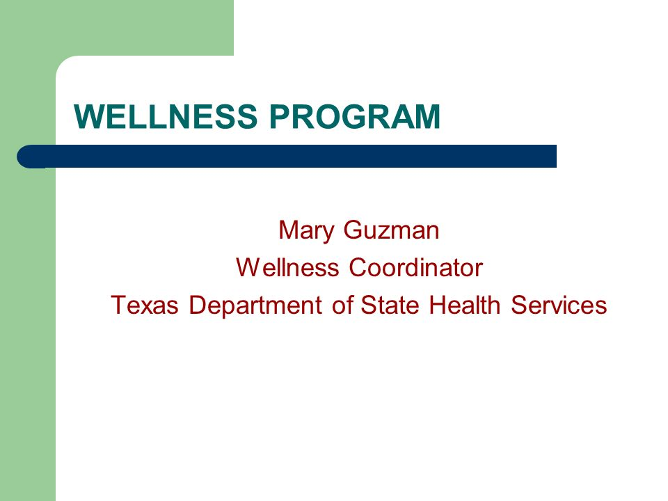 WELLNESS PROGRAM Mary Guzman Wellness Coordinator Texas Department of State Health Services