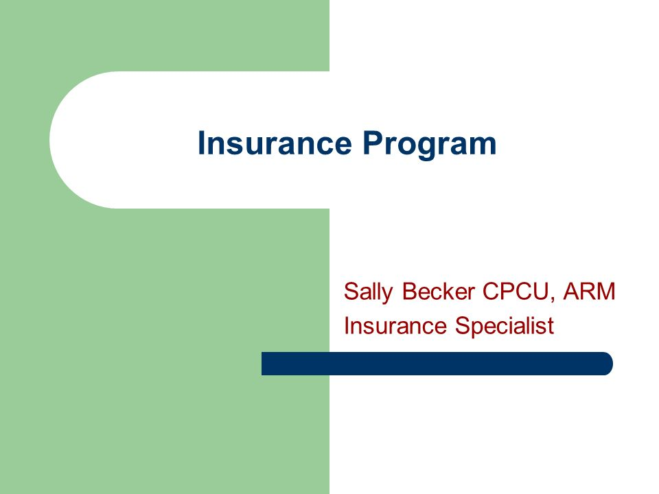 Insurance Program Sally Becker CPCU, ARM Insurance Specialist