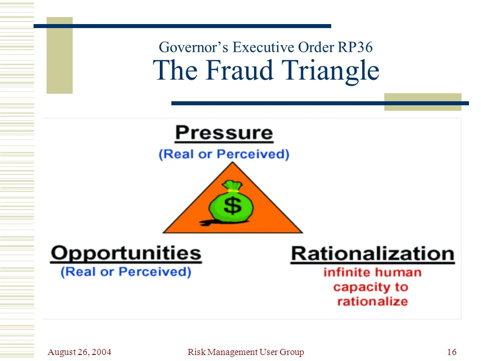 August 26, 2004 Risk Management User Group16 Governors Executive Order RP36 The Fraud Triangle
