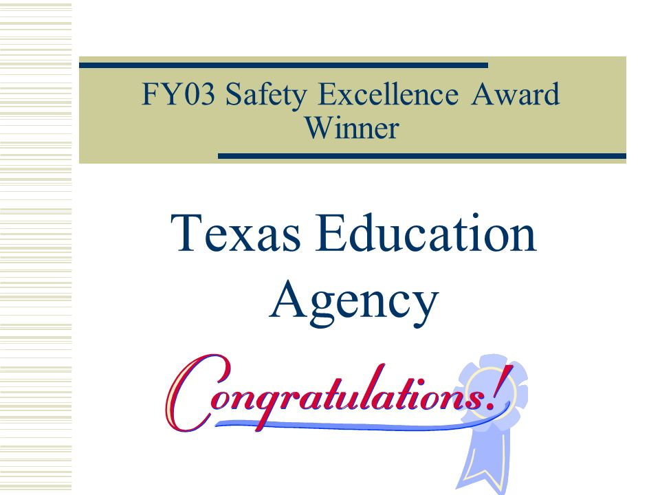 FY03 Safety Excellence Award Winner Texas Education Agency