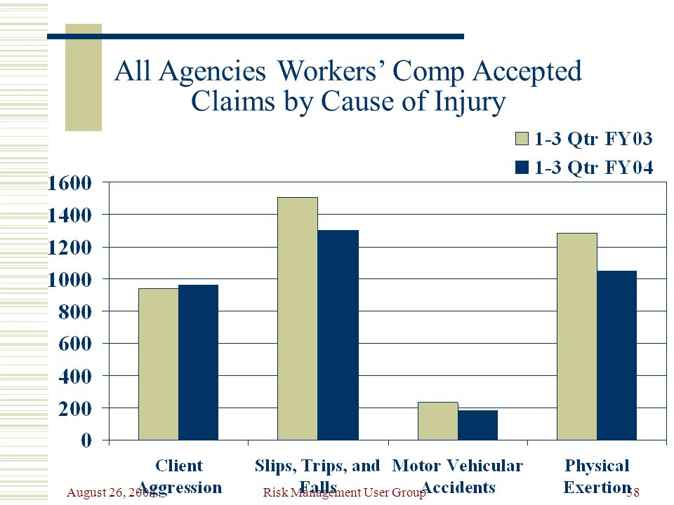 August 26, 2004 Risk Management User Group58 All Agencies Workers Comp Accepted Claims by Cause of Injury