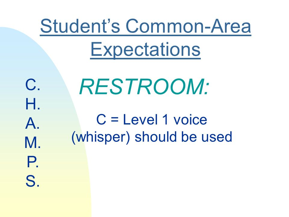 Students Common-Area Expectations RESTROOM: C = Level 1 voice (whisper) should be used C.