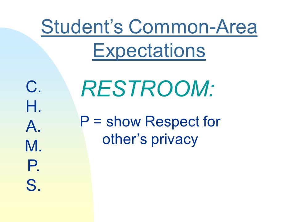 Students Common-Area Expectations RESTROOM: P = show Respect for others privacy C. H. A. M. P. S.