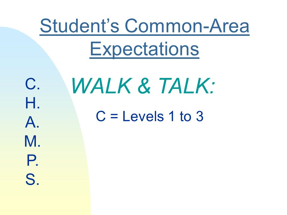 Students Common-Area Expectations WALK & TALK: C = Levels 1 to 3 C. H. A. M. P. S.