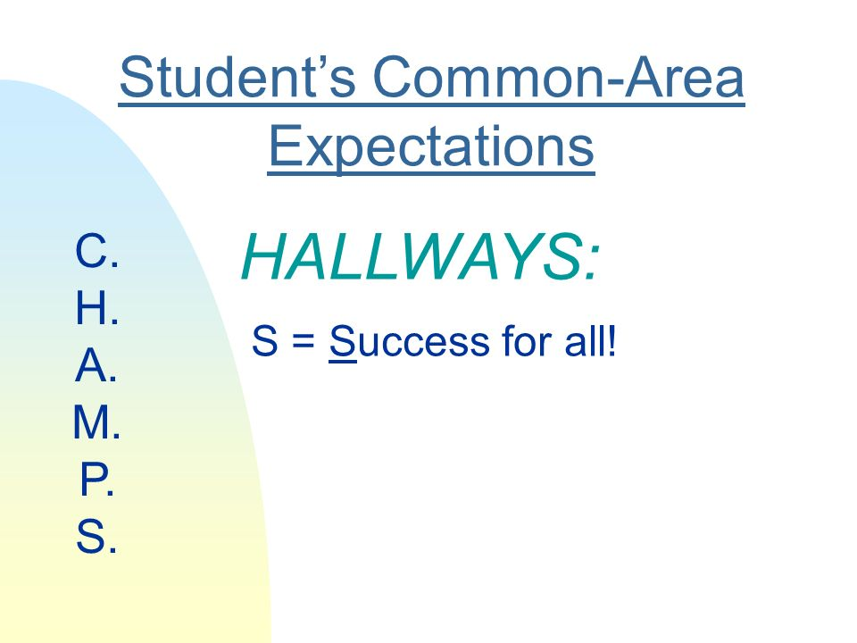 Students Common-Area Expectations HALLWAYS: S = Success for all! C. H. A. M. P. S.