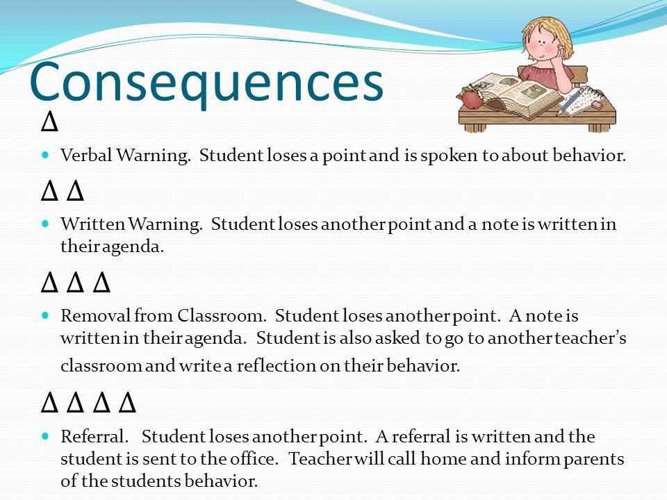 Consequences Δ Verbal Warning. Student loses a point and is spoken to about behavior.