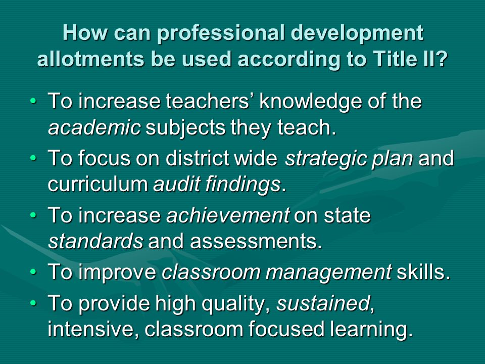 How can professional development allotments be used according to Title II.