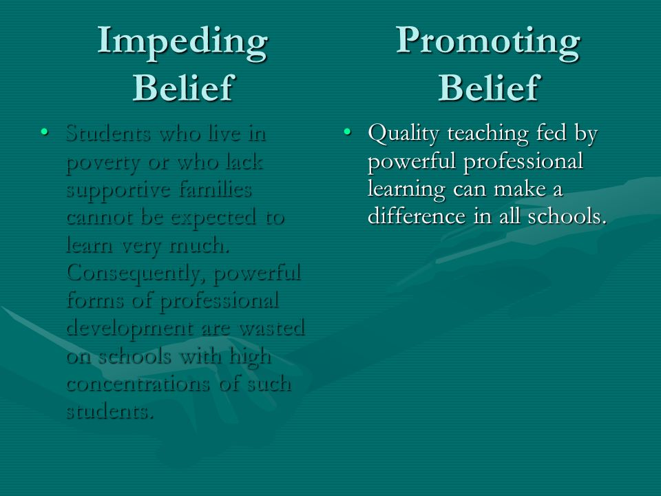 Impeding Belief Students who live in poverty or who lack supportive families cannot be expected to learn very much.
