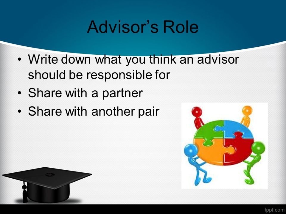 Advisors Role Write down what you think an advisor should be responsible for Share with a partner Share with another pair