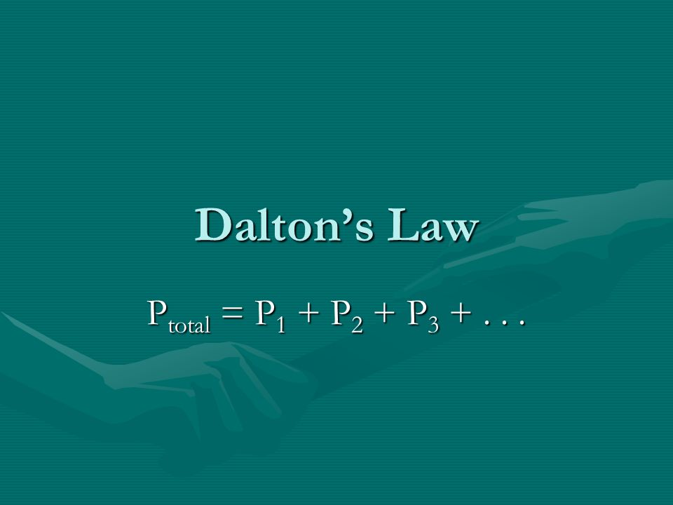 Daltons Law P total = P 1 + P 2 + P 3 +...