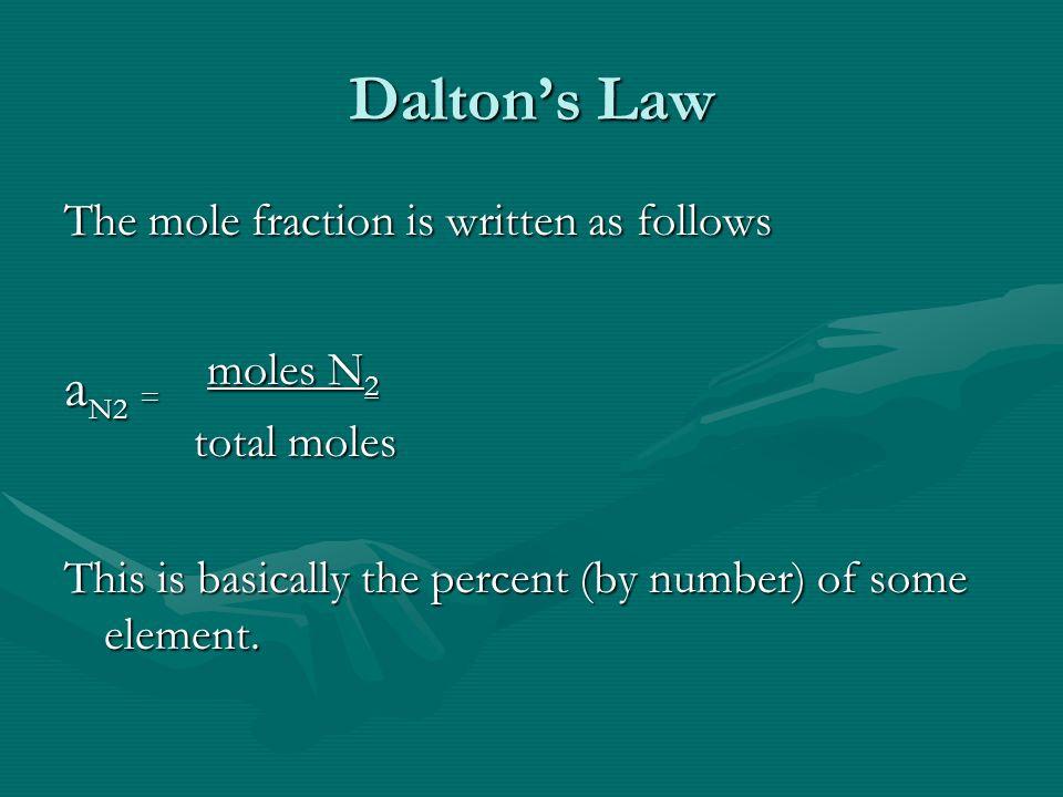 Daltons Law The mole fraction is written as follows a N2 = moles N 2 total moles total moles This is basically the percent (by number) of some element.