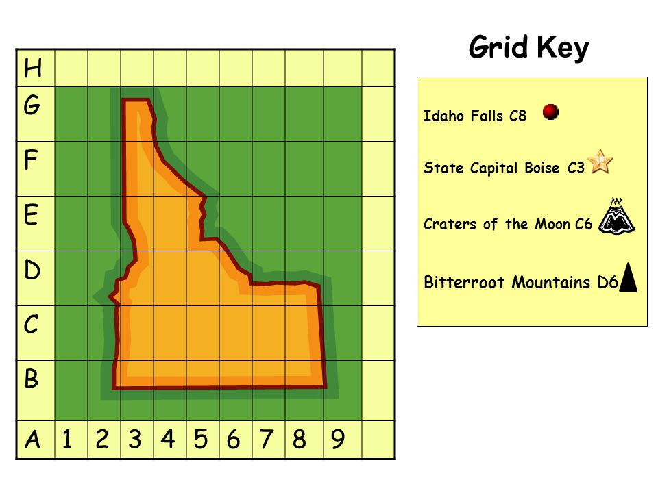 Grid Key H G F E D C B A123456789 Idaho Falls C8 State Capital Boise C3 Craters of the Moon C6 Bitterroot Mountains D6