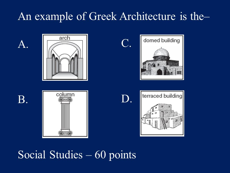 Answer: C. 3 Social Studies – 40 points