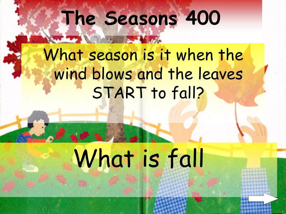 The Seasons 300 What season is it when the leaves are green on trees What is summer