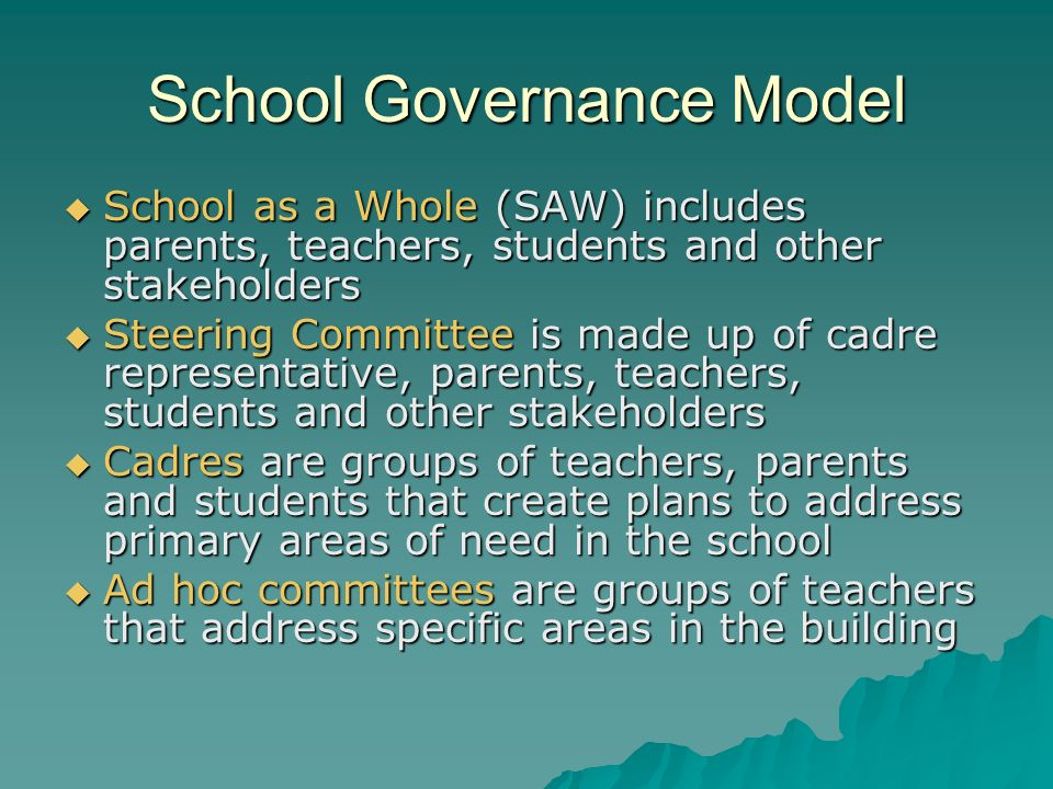 School Governance Model School as a Whole (SAW) includes parents, teachers, students and other stakeholders School as a Whole (SAW) includes parents, teachers, students and other stakeholders Steering Committee is made up of cadre representative, parents, teachers, students and other stakeholders Steering Committee is made up of cadre representative, parents, teachers, students and other stakeholders Cadres are groups of teachers, parents and students that create plans to address primary areas of need in the school Cadres are groups of teachers, parents and students that create plans to address primary areas of need in the school Ad hoc committees are groups of teachers that address specific areas in the building Ad hoc committees are groups of teachers that address specific areas in the building