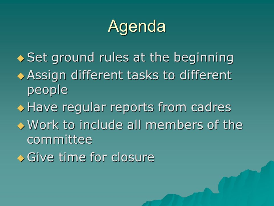 Agenda Set ground rules at the beginning Set ground rules at the beginning Assign different tasks to different people Assign different tasks to different people Have regular reports from cadres Have regular reports from cadres Work to include all members of the committee Work to include all members of the committee Give time for closure Give time for closure